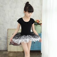 ballet tutu leotard - New Kids Dancewear Girls Short Sleeve Cotton Dance Dress Gymnastics Leotard Ballet Tutu Skate Dresses Folk Performance Costume UD0021