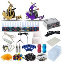 Cheap Complete Tattoo Kit 2 machine Coil Gun Stainless Steel Foot Pedal Grip TIP 15 Color Inks Power Supply TK-24
