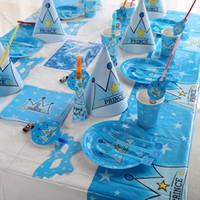 Wholesale Hot Selling Child Birthday Party Supplies Prince Imperial Crown Theme Set Party Dress Arrangement Party Supplies Blue Manual Stage Backgroun