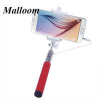 Wholesale Top Hot Super Mini Monopod Wired Selfie Stick Handheld Fold Self portrait Stick Holder For iPhone for Samsung Smartphone