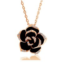 Wholesale 2016 new fashion black flower rose pendant necklace k gold plated zircon rhinestone paiting chain necklace jewelry colar