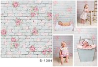 Wholesale 5x6 ft Digital Printing Background backdrop White Brick Wall Pink Flowers For Children Newborn Photography Backdrop