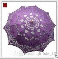 Wholesale 10pcs CCA1993 New Cotton Vintage Battenburg Handmade Embroidered Art Lace Parasol Sun Umbrella Wedding Bridal Party Decoration