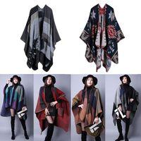 Wholesale 2016 New Fashion Women s Winter Poncho Vintage Blanket Women s Lady Knit Shawl Cape Cashmere Scarf Poncho