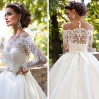 Wholesale Millanoba DOMINICA Wedding Dresses Sheer Neck Appliques Beads Satin Court Train Bridal Dresses Middle East Style