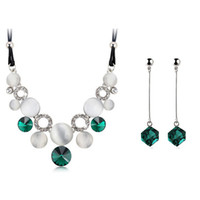 aqua emeralds - Austrian Crystal Silver Gold womens jewellery set of Emerald wedding jewerly sets for women with Sapphire sets of african
