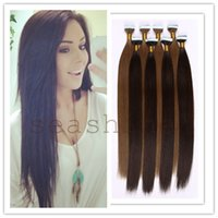 Wholesale Tape In Real Human Hair Extensions Cheap Malaysian Hair Extensions Straight black Color Hair Weft pc g