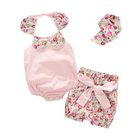 american vintage clothing brand - Boutique Baby Clothes Set Toddler Summer Baby Girls Vintage Floral Ruffle Neck Romper with Bowknot Shorts Headband Kids Suit Outfit Set