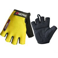 Wholesale ycling Gloves Qepae Lycra Soft Breathable Half Finger Bicycle Gloves Women Men Cycling Glove GEL Bike Mittens Red Blue Black Outdoor Anti
