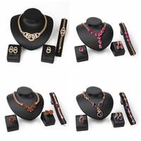 african jewellery designs - 4 Designs Jewelry Sets African k Gold Earing Necklace Bracelet Women Crystal Beads Bridal Fashion Wedding Dubai Sieraden Jewellery Set