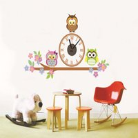 Wholesale Hot sales Colorful Three Cute Owls Birds Digital Cartoon Sticker Wall Clock D PVC Removable Excellent Quality