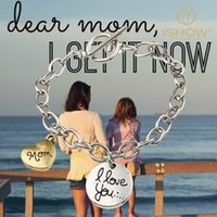 alloy lobster buckle - quot I Love You Mom quot Heart Love Silver Chain T Buckle Bracelet for Valentine s Day jewelry gift Unique charm bracelet