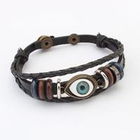 acrylic channel - Bracelets Wholesales Fashion Women Punk High Quality Vintage Eyes Multilayer PU Leather Charm Bracelets Jewelry BR443