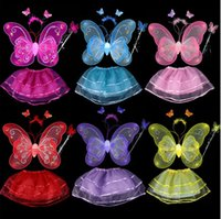 Wholesale Girl s performance princess dance costume skirt with butterfly wings hairband hand stick for halloween cosplay JQ C01