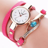 battery green eye - Brand Eye Gemstone Luxury Watches Women Gold Bracelet Watch Dress Female PU Leather Electronic Quartz Wristwatches
