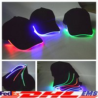 athletics club - LED Baseball Caps Lights Glow Club Party Sports Athletic Black Fabric Travel Hat Cap For Adult Luminous Colors Available XL T105