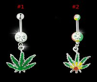 Wholesale 20pcs Women Belly Button Rings Stainless Steel Body Piercing Maple Leaves Navel Pendant DQH006