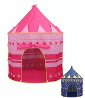 Wholesale Children s Yurt Tent Kids foldable Princess Prince Castle playhouse Beach Tent windows door cm for girls and boys Christmas Gifts