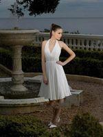 beaded halter neck wedding dresses - Sexy Backless Beaded Short Chiffon Wedding Dress Halter V Neck Line Bridal Dress Custom Made