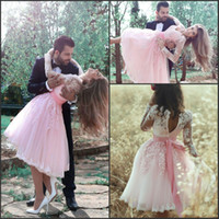 baby engaged - Baby Pink Vinatge Lace Short Homecoming Dresses Long Sleeve Knee Length Girls Engaged Party Dresses Fashion Graduation Gowns BA3770