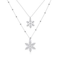 beaded snowflake - New Fashion Jewelry Tiny Silver Beaded Chain Pave Crystal Inlaid Metallic Snowflake Charm Double Layered Tier Long Chain Necklace