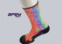 ankle dress socks - APEY Summer towel sports socks for men elite compression socks athletic rainbow color men dress socks male basketball outdoor stockings sock
