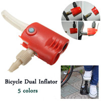bicycle tube replacement - Bicycle Dual Inflator Pump Hose Adaptor Head Tyre Tube Replacement Plastic Schrader Presta White