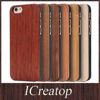apple bamboo cases - Real Wood Case for iPhone6 Plus Galaxy S6 S6edge handmade Genuine Cherry Maple Walnut Bamboo Wooden shell With Durable PC cover