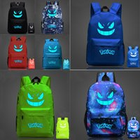 Wholesale 2016 Hot Sale Poke Go Gengar Pikachu Galaxy Luminous Printing Backpack Backpacks Emoji Backpack School Bags For Teenagers Boy Girl Backpack