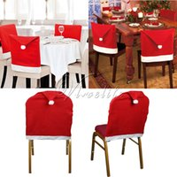 Wholesale Red Santa Clause Hat Shape Christmas Chair Covers Chair Back Cover for New Year Gifts Home Dinner Party Christmas Decorations