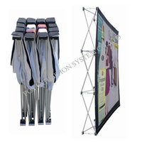 advertising pop ups - 8ft Trade Show Display Portable Folding Pop Up Display Fabric Advertising Banner Stand with Single Side Graphic Pop Up Displays POS A