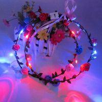 plastic rattan - Party Wedding DIY LED flower garland rattan forehead hair garlands Hair Band Halloween luminous wreath flowers rattan bride headdress C1334