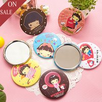 Wholesale ISHOW Newest Fashion Multi Style Cartoon Mini Pocket Makeup Portable Mirror Circular Cosmetic Compact Mirrors For Lady and Girls