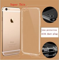 Wholesale For iPhone s Plus Case mm Camera protection Slim soft silicone mobile Cover Transparent TPU waterproof phone Cases With Dust plug