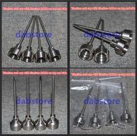 Wholesale WHOLES SALE mini enail kits electric Domeless Gr2 Titanium Nail Carb Cap glass bonger DABBER TOOL SILICONE CONTAINER