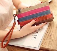 Wholesale New Arrival Women Wallets Lady Purse Long Zipper Canvas Handbag Credit Card Case Cluch bag Traver Wallet Korean Style