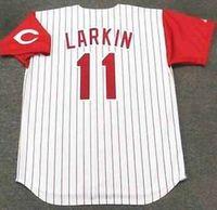 Wholesale 11 Barry Larkin Cincinnati Reds Jersey shirts size S small xl