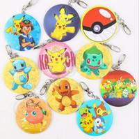 Wholesale Poke Doll Portable mini mirror Keychain Pikachu Key ring styles cm Cartoon Make up mirrors Bag Pendant OOA720