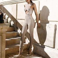 Wholesale hot sale hight quality Summer New Cross Halter Sleeveless Women Sexy Slim balck nude Bandage Jumpsuits