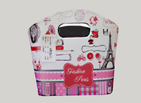 Wholesale Handle Storage Storage Bins for Organization Foldable Fabric Storage Wiht Floral print Containers with Two Handle Holes Oval Tapered