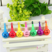 Wholesale 7 different colors cartoon crayon different facial expression wax crayon Graffiti pen