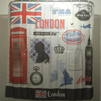 Wholesale 2016 New Cartoon Booth Big Ben Clock Family Bathroom Shower Curtain Simple Polyester Ring Pull Easy To Install