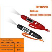 Wholesale 5pcs DT8220 Non Contact Mini Infrared Thermometer IR Temperature Measuring Digital LCD Display Laser temperature measuring Home Body pen