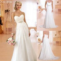 Wholesale Vintage Simple Beach Chiffon Wedding Dress Sleeveless Sweetheart Pleated Elegant Sweep Train Bridal Dresses Gown Cheap Price Under