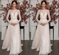 beaded beauty sales - Lace Long Sleeves Wedding Dresses A line Formal Beauty Bateau Neck Beaded Waistline Sweep Train Zipper Elegant Bridal Dress Gowns Hot Sale