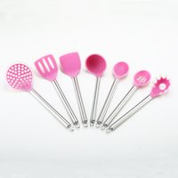 Wholesale Colorful Nylon Kitchen Tools Piece Set Hot Sale Selling Cooking Utensils and Stainless Steel Handle Nylon Kitchenware nylon