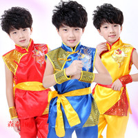 art stages - Chinese Style Golden Dragon Totem Sleeveless Tai Chi Kung Fu Martial Arts Children s Dancewear Performance Clothes Stage Costume cm cm