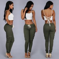 Wholesale Summer Casual Multi Pocket Pants High Waist Solid Lacing White Red Army Khaki Shiny Pencil Pants Capris Women Trousers