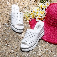 beach wedge shoes - Hot selling new style women shoes fashion heels pump one word pure color hollow out wedges slippers waterproof Taiwan female shoes