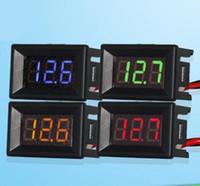 Wholesale 10pcs small quot DC V V wires digital LED display Voltmeter Voltage Tester guage volt Meter panel for car motorcycle